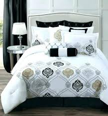 white comforter with black trim and navy bedding elegant best quilt cover w