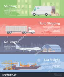 Cargo Web Design Set Of Flat Vector Web Banners On The Theme Of Logistics