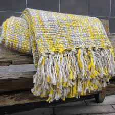 Gray And Yellow Throw Blanket