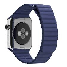apple watch leather loop bright blue back angle