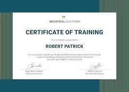 Certificate Of Training Completion Template Security Guard Certificate Template Of On The Job Training