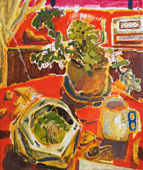 a painting of two plants and a mug on a table with a red tablecloth and