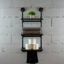os home and office furniture black steel industrial pipe three tiered hanging wall shelf