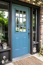 industrial front door redo in fusion mineral paint s homestead blue with painting tips funkyjunkinteriors