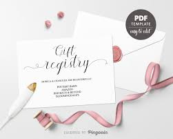 Gift Registry Template Gift Registry Card Template Wedding Registry Card Registry