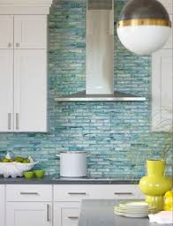 Kitchen With Glass Tile Backsplash Enchanting Blue Glass Tile Backsplash Stainless Chimney Hood Stacked Cabinets