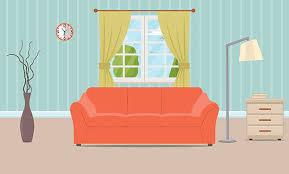 family room clipart. living room interior vector art illustration family clipart