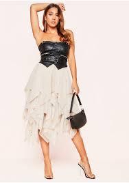 orla beige mesh layered midi skirt
