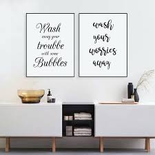 bathroom wall art wash your worries away e wall art canvas print and poster bathroom prints