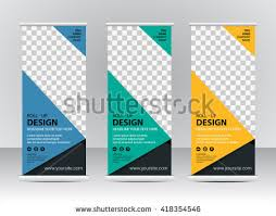 banner design template roll banner stand template design stock vector 418354546