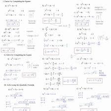 worksheet answer 1 math plane pleting the square quadratic formula
