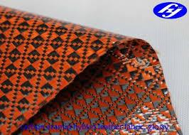orange polyurethane leather fabric glossy carbon kevlar hybrid for sports equipments