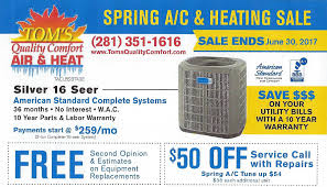 Heating And Air Units For Sale American Standard Houston Ac Sale Toms Quality Comfort Houston
