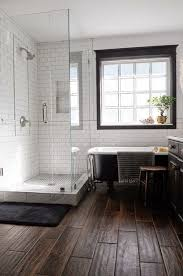 wood tile flooring in bathroom. Wood Tile Floor, White Subway With Dark Grout, Black Window Trim - Basement Bath Flooring In Bathroom