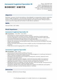 92a Resume Automated Logistical Specialist Resume Samples Qwikresume