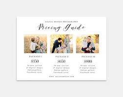 Photography Pricing Template Photography Pricing Template Etsy