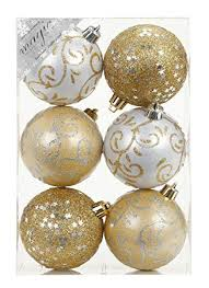 6 Stk Pvc Christbaumkugeln 8cm Gold Weiß Ornament