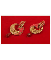 touchstone indian bollywood pretty curved fish motif candy red rhinestone long bridal designer jewelry chandelier earrings