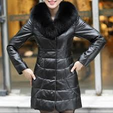 women s leather jacket with a fur collar genuine leather fur of a fox model 6382 art 572016136