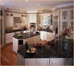 picture of antique white kitchen cabinets with granite countertops