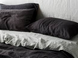 ultra luxurious 100 pure french double sided linen quilt cover in charcoal stripes