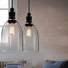 winsoon ecopower 1pc light vintage hanging big bell glass shade ceiling lamp pen