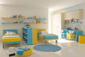 kids bedroom furniture with desk. Kids Bedroom Furniture Sets In Blue And Yellow Theme With Bed Wall Mounted Shelves Also Study Desk Made Of Wood O