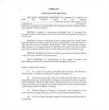 Investment Agreement Templates Investment Agreement Templates Doc Free Premium Equity Template