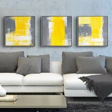 modern home decor yellow and grey abstract painting decorative canvas paintings for living room sofa backdrop wall art pictures in painting calligraphy