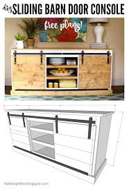 build a sliding barn door console using my step by step free plans this is a knock off of the yorkville sliding door console from sun catalog