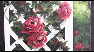 roses on a trellis oil painting demo