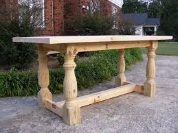 Handcrafted Solid Pine 36 Inch Tall Dining Or Kitchen Table With 2