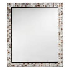 l wall mirror in espresso marble tile