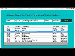 c create dynamic datatable datarow