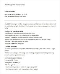 Reception Resume 10 Receptionist Resume Templates Pdf Doc Free