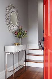 slim entry table. Decorative Gold Console Tables Decor Ideas In Entry Contemporary Design With Light Grey Walls Porcupine Mirror Quill Red Door Slim Table