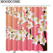 plum blossom pink shower curtains 2017 new design hot fashion flower bathroom curtains white in shower curtains from home garden on aliexpress com