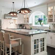 L Shaped Kitchen Island with Foot Rail