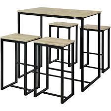 Set De 1 Table 4 Tabourets Ensemble Table De Bar Bistrot 4