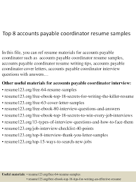 Accounts Payable Specialist Sample Resume Delectable Accounts Payable Coordinator Resumes Kenicandlecomfortzone