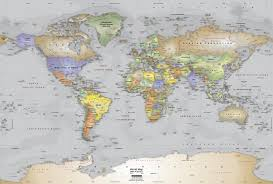 gray oceans world political map wall mural miller projection 2500x1686