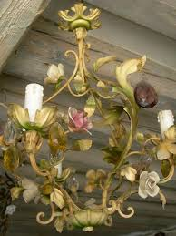 antique italian tole porcelain flowers chandeliers