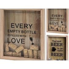 wine cork beer bottle top storage wooden box