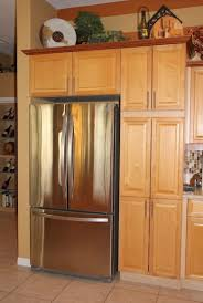 Kitchen Cabinets Refrigerator Kitchen Oak Wood Tall Kitchen Cabinet Including Stainless Modern