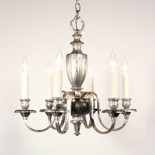 sold elegant antique silver plated six light georgian chandelier c 1910