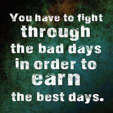 Fight For Your Life Quotes You have to fight through the bad days in order to earn the best 62