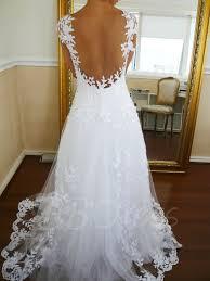 cap sleeve a line appliques backless beach wedding dress tbdress com