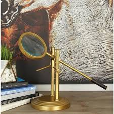 tarnished brass aluminum magnifying glass decor with