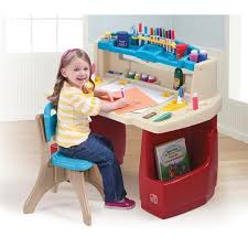 kids step 2 activity art drawing table desk chair set childrens play toy light