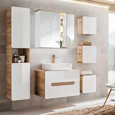 Badezimmer Set Mit Keramik Waschtisch Luton 56 Hochglanz Weiß Wotaneiche Bxhxt Ca 180x195x46cm